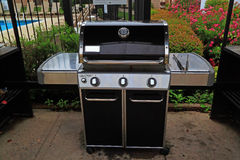 Grill Booth. Outdoor grill booth with gas grill, grill tools and tables for business, gathering party stock image