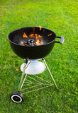 Grill with Burning Charcoal Royalty Free Stock Image