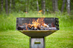 Grill with burning charcoal Stock Photo