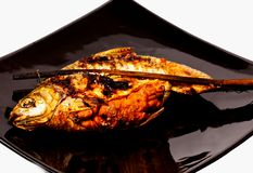 Grill carp in isolated on  black background Stock Images
