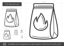 Grill charcoal line icon. Stock Photos