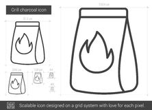 Grill charcoal line icon. Royalty Free Stock Photos