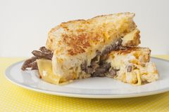 Grill cheese sandwich with steak. And gouda cheese Stock Photo