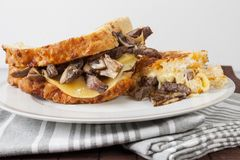 Grill cheese sandwich with steak. And gouda cheese Stock Photography
