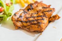 Grill chicken steak. On white plate Stock Photo
