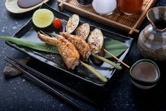 Grill chicken wing with salt seasoning. Royalty Free Stock Photos