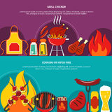 Grill Chiken And Cooking On Open Fire Flat. Drawing such dishes as grill chiken roasted meal vector illustration Stock Photo