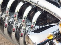 Vintage car grill. Grill of a classic vintage car, close-up royalty free stock images