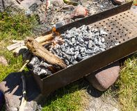 Grill with coals on  street Stock Photography