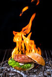 Grill concept with flare on background Royalty Free Stock Photos