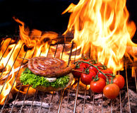 Grill concept with flare on background Royalty Free Stock Photo