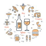 Grill concept - wine and drink vector illustration