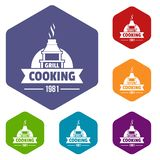 Grill cooking icons vector hexahedron. Grill cooking icons vector colorful hexahedron set collection isolated on white vector illustration