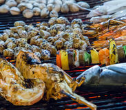 Grill cooking seafood Royalty Free Stock Photos