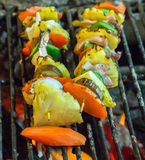 Grill cooking seafood top view Royalty Free Stock Images