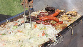 Grill covered with food Stock Photo