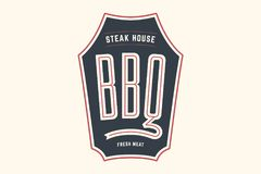 Grill de BBQ de logo illustration stock