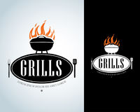Grill Design Element in Vintage Style for Logotype, Label, Badge and other design. Fire flame retro  illustration. Grill Design Element in Vintage Style for Royalty Free Stock Photos