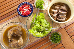 Grill dinner. Chicken, pork meat, vegetables. Table top view Royalty Free Stock Photography