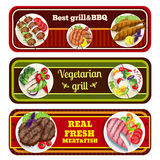 Grill Dishes Banners Royalty Free Stock Photography