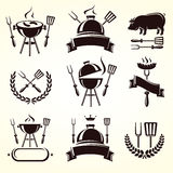 Grill elements set. Vector. Label, fresh, sausage Stock Images