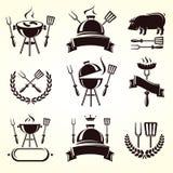 Grill elements set. Vector. Label, fresh, sausage stock illustration