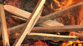 Grill-Feuer - brennendes Holz in Zeitlupe 01 stock footage