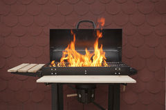 Grill on fire. On red background Royalty Free Stock Images