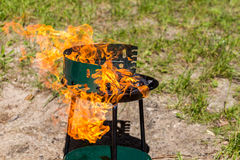 Grill on fire. Summer cooking Royalty Free Stock Image