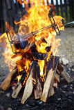 Grill on fire Royalty Free Stock Image