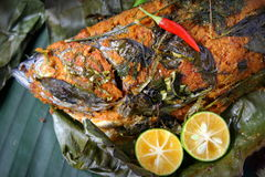 Grill Fish - Ikan Bakar. Ikan Bakar - Malaysian famous street food. Grill fish wrapped in banana leaf with a lots of spices Royalty Free Stock Image