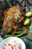 Grill Fish - Ikan Bakar. Ikan Bakar - Malaysian famous street food. Grill fish wrapped in banana leaf with a lots of spices Royalty Free Stock Photography