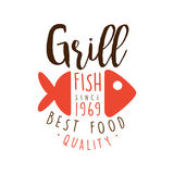 Grill fish since 1969 logo template hand drawn colorful vector Illustration Royalty Free Stock Image