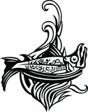 Grill fish Logo. Vector black and white illustration Stock Photography
