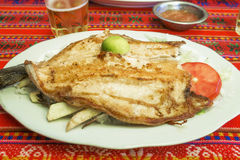 Grill fish plate in a bolivian restaurant Royalty Free Stock Photo