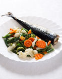Grill Fish with Vegetables Stock Image
