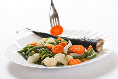 Grill Fish with Vegetables Stock Photos