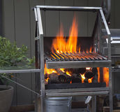 Grill with flame Royalty Free Stock Images