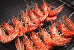 Grill fried prawns Royalty Free Stock Images