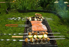 Grill in a garden Royalty Free Stock Photos