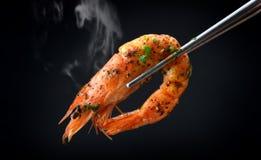 Grill garneli BBQ styl fotografia stock