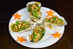 Grill geoduck mit Zwiebel und Fett Asiatische Nahrung stockfotografie