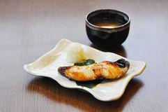 Grill Gindara or Sable fish with Miso soup Stock Images