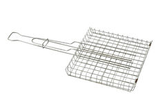 Grill grid. Stainless steel grill grid isolated on a white background royalty free stock photo