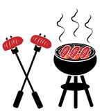 Grill with  grill steak isolated on white background. Vector illustration Royalty Free Stock Photography