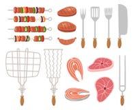 Grill, Grillikonen Satz Elemente - Chef, Küchenwerkzeuge, Koffer, Ketschup, Holzkohle, Flasche Wein, Schutzblech stock abbildung