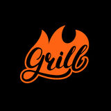 Grill hand written lettering logo, label, madge or emblem with fire. On black background. Vector illustration Stock Photography