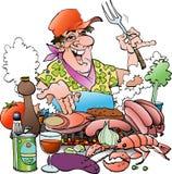 Grill het hoofd uitnodigen aan een grillpartij Stock Foto