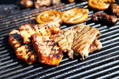 Grill hot and appetizing Stock Images