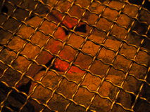 Grill. Hot Ash and iron grill cook Royalty Free Stock Image